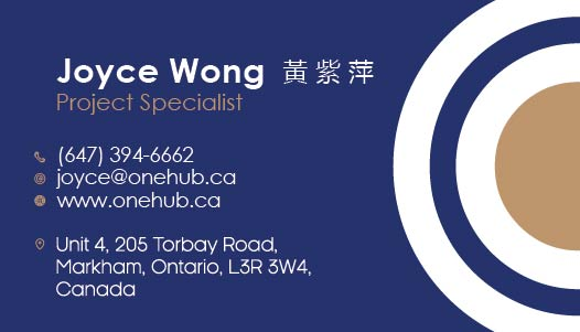 Joyce Wong (Project Specialist) OneHub Business Cards